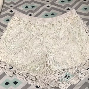 Forever 21 crochet white shorts